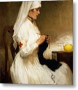Portrait Of A Nurse From The Red Cross Metal Print by Gabriel Emile Niscolet
