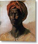 Portrait Of A Turk In A Turban Metal Print by Ferdinand Victor Eugene Delacroix