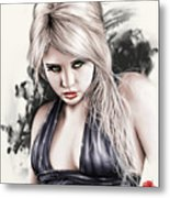 Portrait Of Miss Mosh Metal Print by Pete Tapang