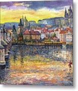 Prague Charles Bridge And Prague Castle With The Vltava River 1 Metal Print by Yuriy  Shevchuk
