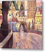 Prague Charles Bridge Night Light 1 Metal Print by Yuriy  Shevchuk