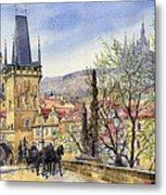 Prague Charles Bridge Spring Metal Print by Yuriy  Shevchuk