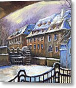 Prague Chertovka Winter 01 Metal Print by Yuriy  Shevchuk