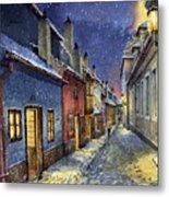 Prague Golden Line Winter Metal Print by Yuriy  Shevchuk
