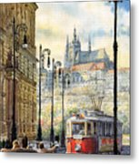 Prague Kaprova Street Metal Print by Yuriy  Shevchuk