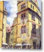 Prague Karlova Street Hotel U Zlate Studny Metal Print by Yuriy  Shevchuk