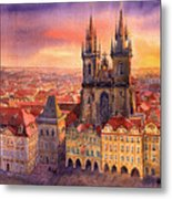 Prague Old Town Square 02 Metal Print by Yuriy  Shevchuk