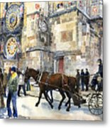 Prague Old Town Square Astronomical Clock Or Prague Orloj  Metal Print by Yuriy  Shevchuk