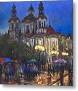 Prague Old Town Square St Nikolas Ch Metal Print by Yuriy  Shevchuk