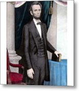 President Abraham Lincoln In Color Metal Print by War Is Hell Store