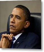 President Barack Obama Reflects Metal Print by Everett