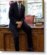 President Barack Obama Sits On The Edge Metal Print by Everett