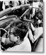 President Kennedy Drives An Open Car Metal Print by Everett