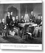 President Lincoln His Cabinet And General Scott Metal Print by War Is Hell Store