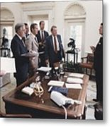 President Reagan And His White House Metal Print by Everett