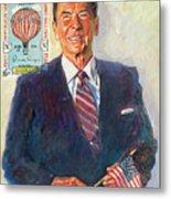 President Reagan Balloon Stamp Metal Print by David Lloyd Glover