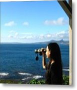 Pretty Girl Looking Through Binoculars Metal Print by Yali Shi