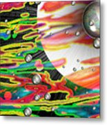 Psychedelic Planetary Journey Metal Print by Roxy Riou