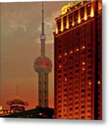 Pudong Shanghai - First City Of The 21st Century Metal Print by Christine Till