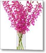 Purple Orchid In Vase Metal Print by Atiketta Sangasaeng