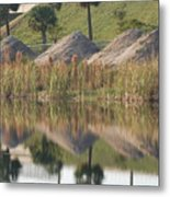 Pyrimids By The Lakeside Cache Metal Print by Rob Hans