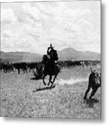 Raguero Cutting Out A Cow From The Herd Metal Print by Raguero cutting out a cow from the herd