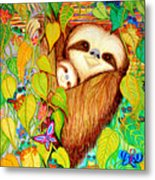 Rain Forest Survival Mother And Baby Three Toed Sloth Metal Print by Nick Gustafson