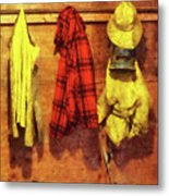 Rain Gear And Red Plaid Jacket Metal Print by Susan Savad