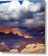 Rain Over The Grand Canyon Metal Print by Mike  Dawson