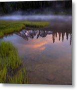 Rainier Sunrise Cap Metal Print by Mike  Dawson