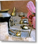 Rajasthani Woman Metal Print by Michele Burgess