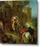 Rebecca Kidnapped By The Templar Metal Print by Ferdinand Victor Eugene Delacroix