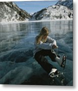 Rebecca Quinton Laces Up Her Ice Skates Metal Print by Michael S. Quinton