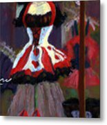 Red And Black Jester Costume Metal Print by Cheryl Whitehall