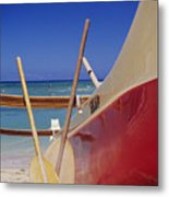 Red And Yellow Canoe Metal Print by Joss - Printscapes