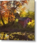 Red Barn In Autumn Metal Print by Joann Vitali