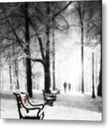 Red Benches In A Park Metal Print by Jaroslaw Grudzinski