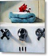 Red Geranium And Old Sink Metal Print by Linda Jacobus