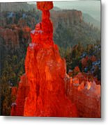 Red Glow Of The Sunrise On Thor's Hammer In Bryce Canyon Metal Print by Pierre Leclerc Photography