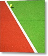 Red Green White Line And Tennis Ball Metal Print by Silvia Ganora