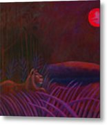 Red Night Painting 48 Metal Print by Angela Treat Lyon