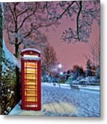 Red Phone Box Covered In Snow Metal Print by Photo by John Quintero