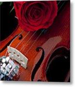 Red Rose With Violin Metal Print by Garry Gay