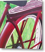 Red Super Cruiser Bicycle Metal Print by Charlene Cloutier