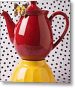 Red Teapot With Butterfly Metal Print by Garry Gay