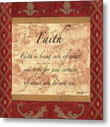 Red Traditional Faith Metal Print by Debbie DeWitt