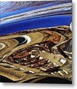 Reflection On A Parked Car 11 Metal Print by Sarah Loft