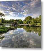 Reflection On The Poudre River Metal Print by Shane Linke