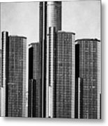 Renaissance Center - Black And White Metal Print by Alanna Pfeffer
