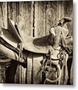 Retired Saddle Metal Print by Christine Hauber